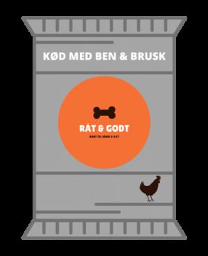 Kød med ben og brusk med kylling til hunde