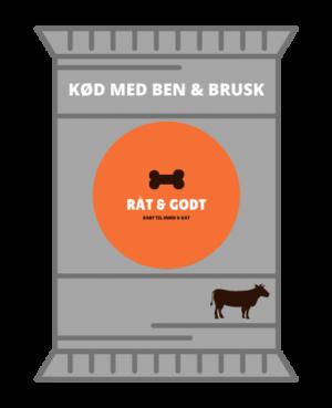 Kød med ben og brusk med okse til hund